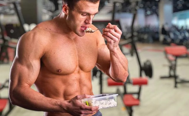 Weight Lifter Eating White Rice