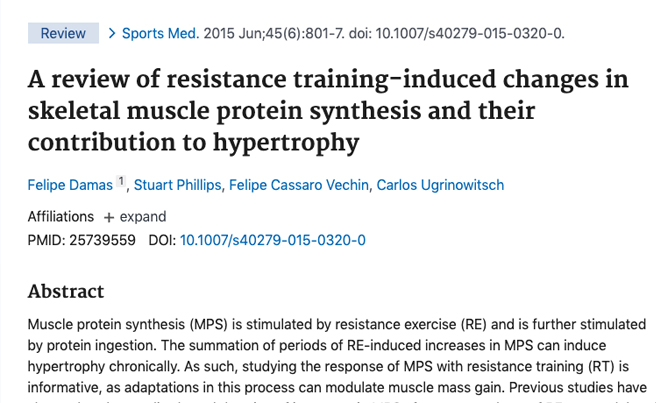 Study on Training Induced Muscle Protein Synthesis