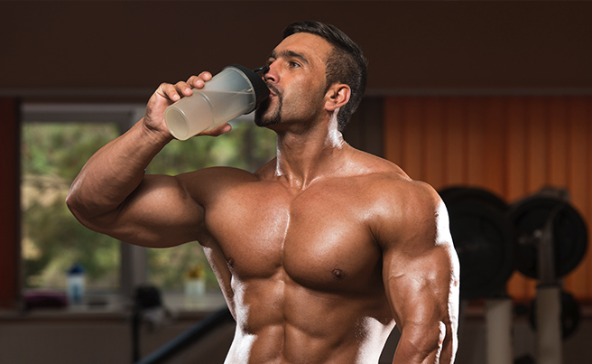 Bodybuilder Drinking Water