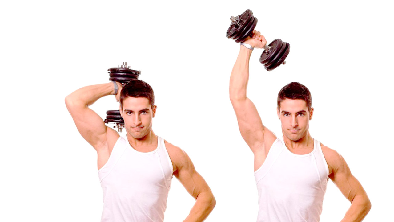 single arm dumbbell french press